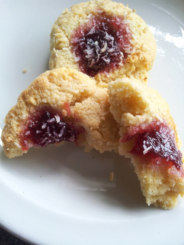 jammy coconut thumbprints